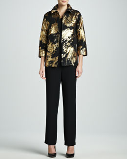 Caroline Rose Abstract Painterly Printed Jacket, Long Tank & Straight-Leg Pants, Petite
