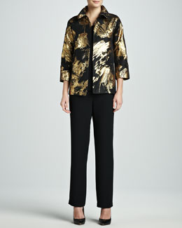 Caroline Rose Abstract Painterly Printed Jacket, Long Tank & Straight-Leg Pants, Women's