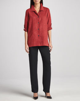 Caroline Rose Modern Faux-Suede Big Shirt & Microfiber Straight-Leg Pants