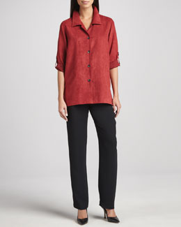 Caroline Rose Modern Faux-Suede Big Shirt & Microfiber Straight-Leg Pants, Women's