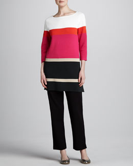 Joan Vass Striped Tunic & Slim Ankle Pants