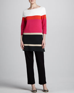 Joan Vass Striped Tunic & Slim Ankle Pants, Petite
