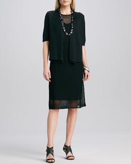 Eileen Fisher Half-Sleeve Cardigan & Sleeveless Mesh Dress