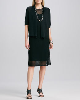 Eileen Fisher Half-Sleeve Cardigan & Sleeveless Mesh Dress, Petite