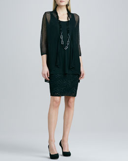 Eileen Fisher Mesh Cardigan, Silk Jersey Tunic & Crinkled Lace Skirt, Women's