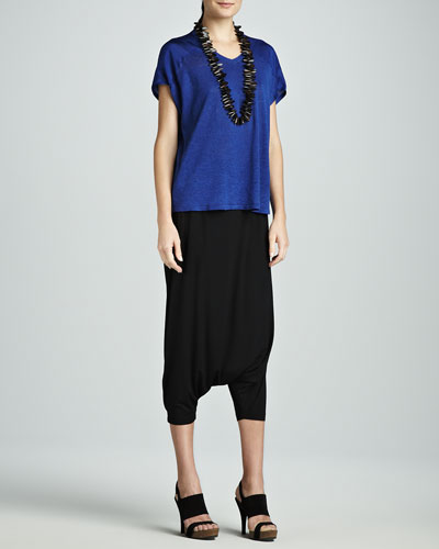Eileen Fisher V-Neck Jersey Box Top & Lightweight Harem Pants