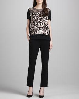 Diane von Furstenberg Becky Printed Blouse & Carissa Cropped Ponte Knit Pants