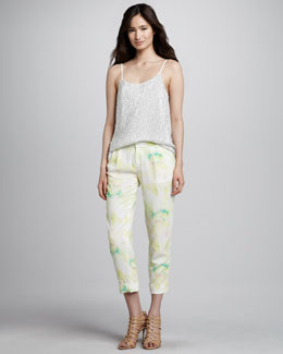 Alice + Olivia Sequined Silk Tank Top & Arthur Tie-Dye Pants