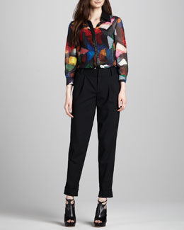 Alice + Olivia Willa Chiffon Blouse & Arthur Cuffed Crepe Pants
