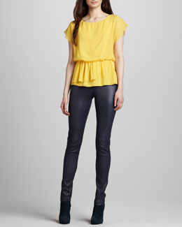 Alice + Olivia Becker Drape-Waist Top & Leather Zip-Front Leggings