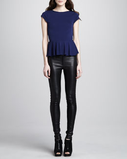 Alice + Olivia Ella Cap-Sleeve Peplum Top & Leather Leggings