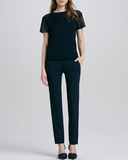 Vince Leather-Sleeve Wool Tee & Fitted Stretch-Wool Tuxedo Pants
