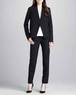 Vince Relaxed Crepe Blazer, Silk/Leather V-Neck Top & Cropped Crepe Trousers