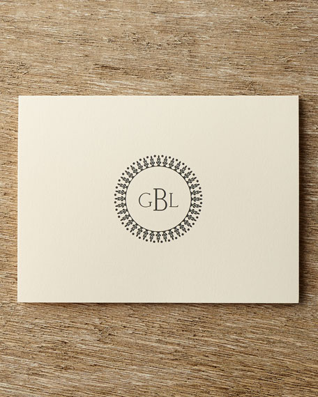 25 Circle Monogram Folded Notes with Personalized Envelopes
