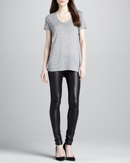 Vince Short-Sleeve Slub Tee & Skinny Leather Pants