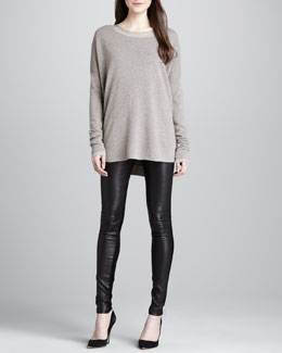 Vince Loose Wool-Cashmere Sweater, Long-Sleeve Slub Tee & Skinny Leather Pants