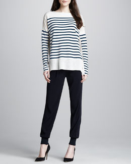 Vince Striped Cashmere Boat-Neck Sweater & Banded-Cuff Jogging Pants