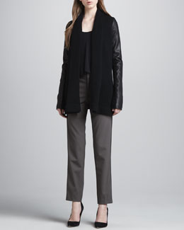 Vince Draped Leather-Sleeve Jacket, Loose Arched-Hem Tank & Relaxed Side-Stripe Trousers