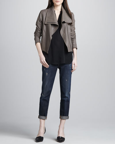 Vince Vintage-Inspired Motorcycle Jacket, Silk Cap-Sleeve Blouse & Distressed Cuffed Relaxed Jeans