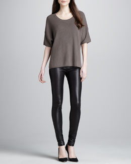 Vince Mixed-Texture Cashmere Sweater & Skinny Leather Pants