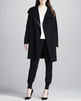 Vince Asymmetric Wool-Blend Coat, Silk/Leather V-Neck Top & Banded-Cuff Jogging Pants