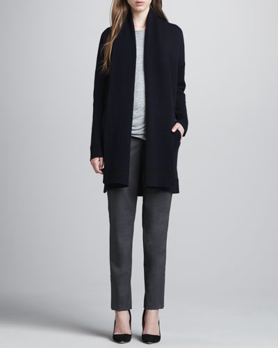 Wool-Cashmere Open Cardigan, Long-Sleeve Slub Tee, Favorite Tank & Relaxed Stretch-Wool Trousers