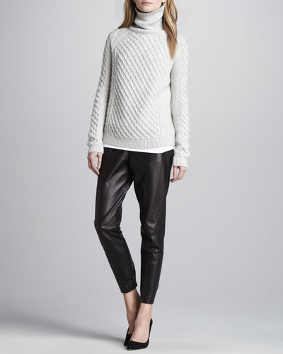 Vince Cable-Knit Turtleneck Sweater, Favorite Tank & Cropped Leather Pants