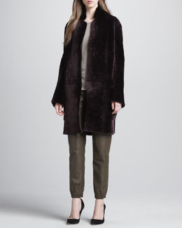 Vince Reversible Shearling Coat, Long-Sleeve Tee & Leather Jogging Pants