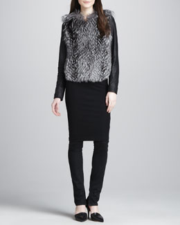 Vince Leather-Sleeve Fur Jacket, Ribbed-Knit Pencil Skirt & Textured-Knee Skinny Jeans
