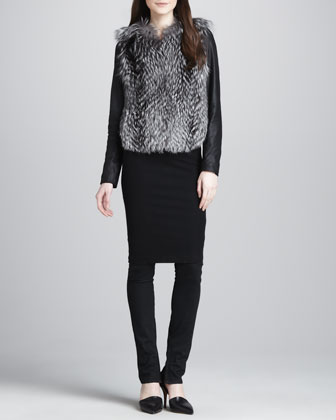 Leather-Sleeve Fur Jacket, Ribbed-Knit Pencil Skirt & Textured-Knee Skinny ...