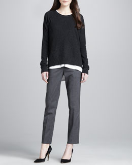 Vince Split-Side Knit Sweater, Long-Sleeve V-Neck Top & Relaxed Stretch-Wool Trousers