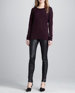 Vince Long-Sleeve Slub Tee & Leather Ankle-Zip Leggings