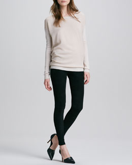 Vince Chiffon-Overlay Knit Sweater & Suede Leggings