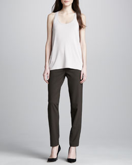 Vince Loose Stretchy Tank & Relaxed Stretch-Wool Trousers