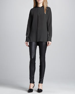 Vince Two-Tone Silk Blouse & Leather Ankle-Zip Leggings