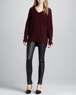 Vince V-Neck Cashmere Sweater & Leather Ankle-Zip Leggings