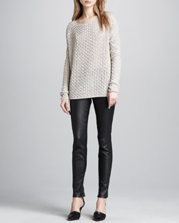 Vince Lightweight Textured Knit Sweater & Leather Ankle-Zip Leggings