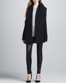 Vince Speckled Tweedy Open Coat, Long-Sleeve Slub Tee & Leather Ankle-Zip Leggings