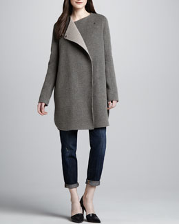 Vince Asymmetric Felt Coat & Distressed Cuffed Relaxed Jeans