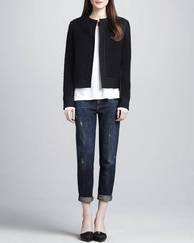 Vince Textured Open Jacket, Long-Sleeve Slub Tee & Distressed Cuffed Relaxed Jeans
