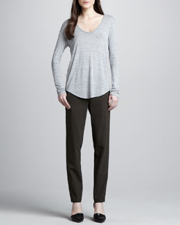 Vince Slub V-Neck Tee & Relaxed Stretch-Wool Trousers