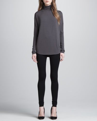 Stretch-Jersey Turtleneck & Scrunch-Ankle Ponte Leggings