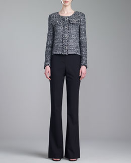 St. John Collection Tweed Knit Jacket, Stretch Silk Crepe de Chine Shell & Annabel Narrow Boot-Cut Pants