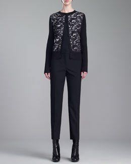St. John Collection Shimmer Rib-Knit Jewel-Neck Lace Cardigan, Stretch Silk Crepe de Chine Shell & Emma Tropical Cropped Pants