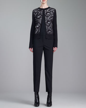 Shimmer Rib-Knit Jewel-Neck Lace Cardigan, Stretch Silk Crepe de Chine ...