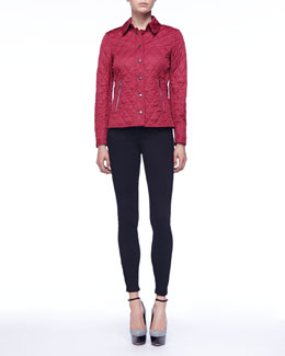 Burberry Brit Garnet Zip-Pocket Quilted Jacket & Ankle-Zip Skinny Jeans