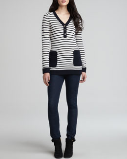 Tory Burch Felicia Army-Striped Sweater & Rinsed Denim Leggings