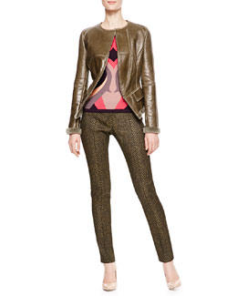 Versace Collection Leather Jacket, Three-Quarter Sleeve Top & Fitted Pants