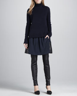 Vince Ribbed-Trim Knit Sweater, Leather-Hem Crepe Skirt & Leather Ankle-Zip Leggings