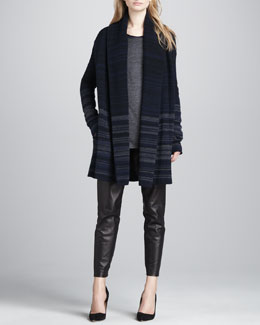 Vince Variegated-Stripe Felt Jacket, Long-Sleeve Slub Tee, Round-Hem Jersey Tee & Cropped Leather Pants